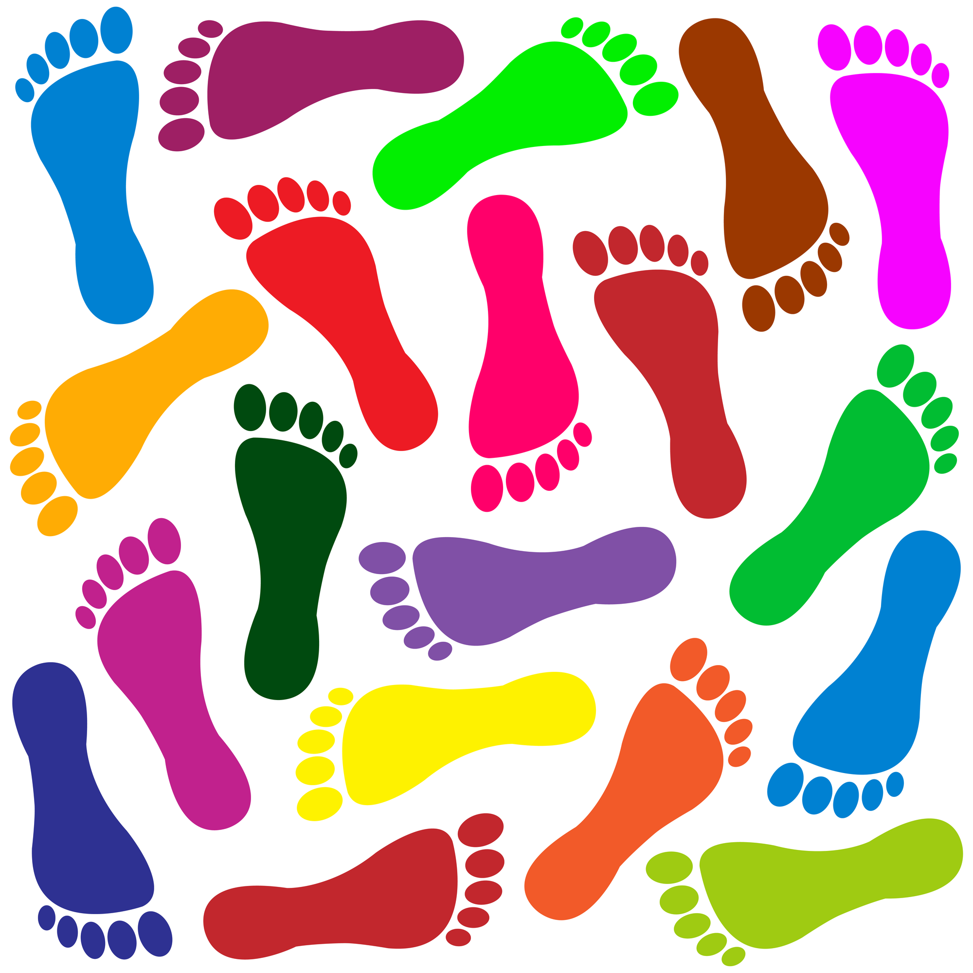 Colourful image of many different footprints