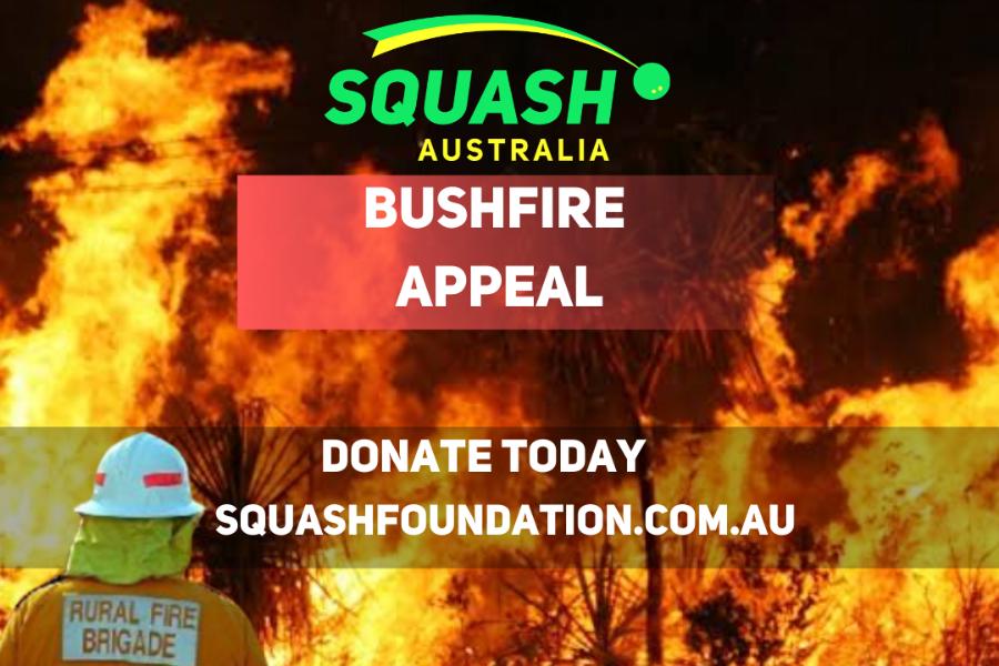 Squash Australia Bushfire Relief Event Banner