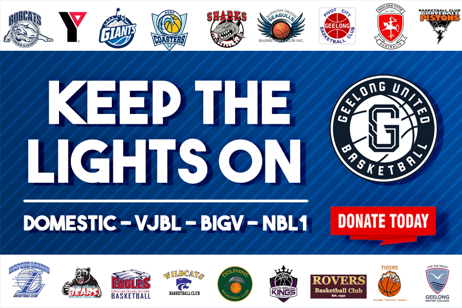 Keep The Lights on at Geelong United Basketball Banner