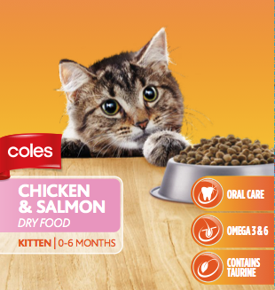 Molly on the Coles cat food packaging gallery image