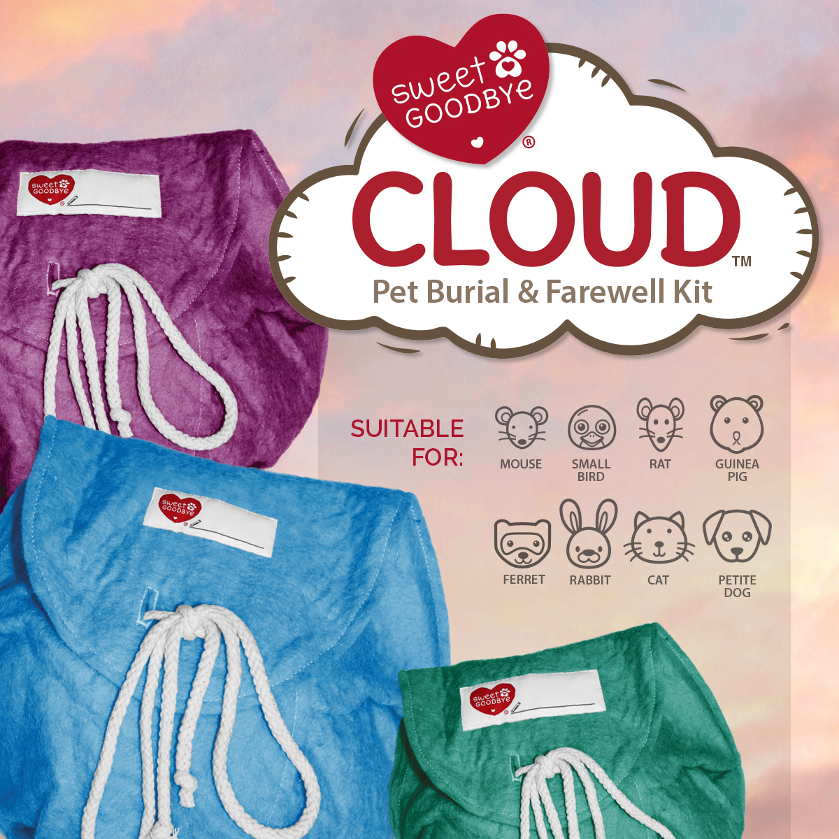 Cloud Pet Burial & Farewell Kit - Small Animals gallery image