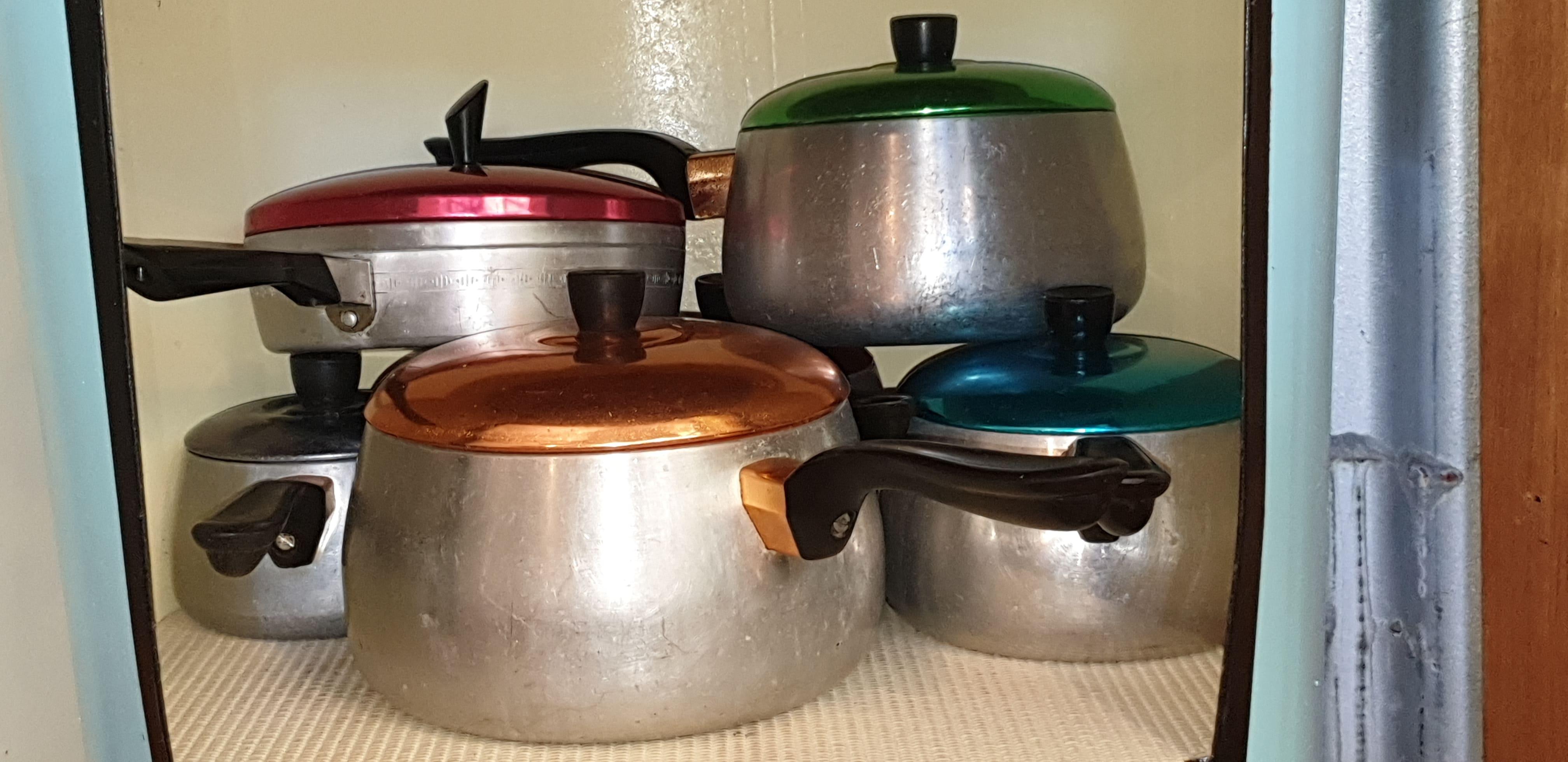 Retro cooking pots including egg poacher. gallery image