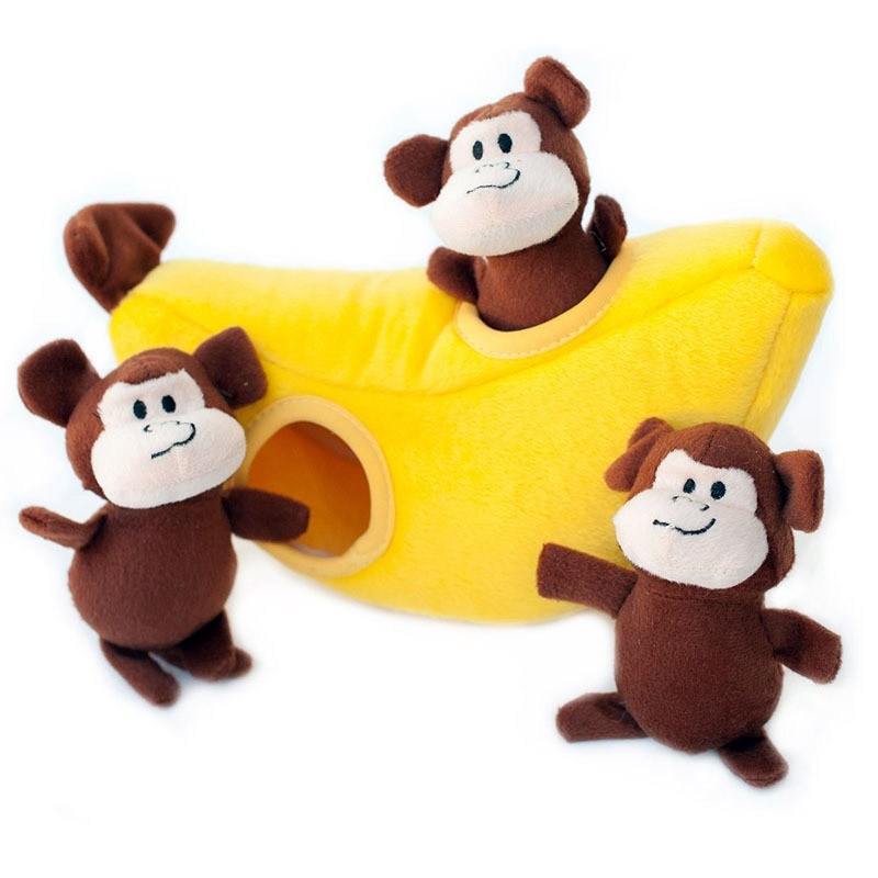 Zippy Burrow - Monkey n Banana Dog Toy gallery image