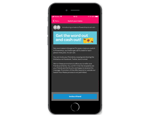 Powershop mobile app switch a friend and both get account credit animated gif