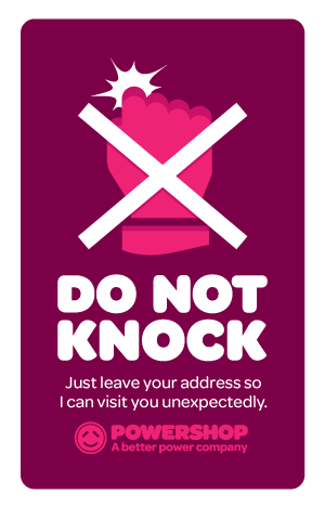 Powershop Do Not Knock sticker design two: visit you unexpectedly