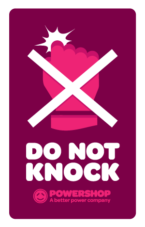 Powershop Do Not Knock sticker design three: plain