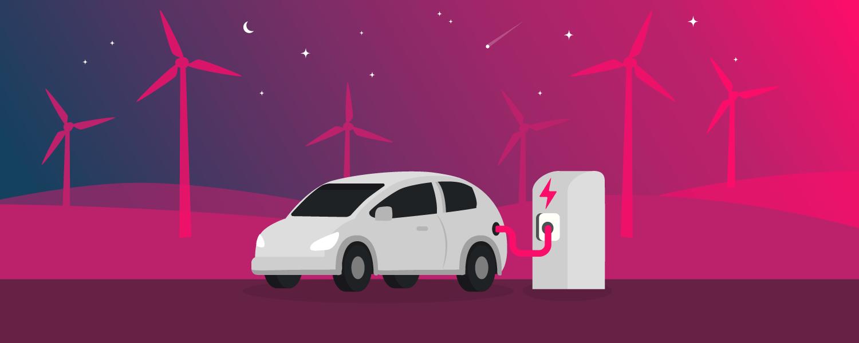 EV electricity plan. Electric vehicle at charging station - illustration.