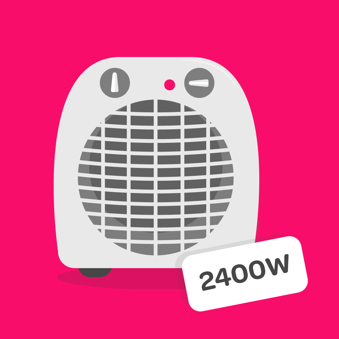 Illustration of a heater with the wattage amount