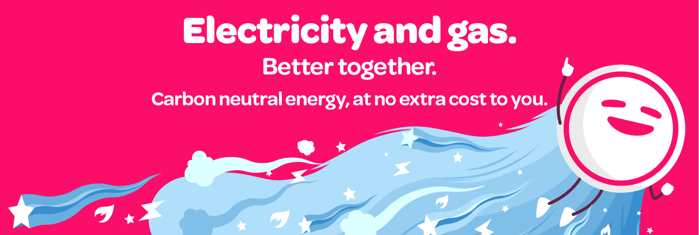 graphic with Powershop mascot to show that gas and electric energy are better together