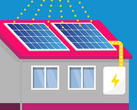 Illustration of a house with solar panels on roof with the suns rays beaming down onto it