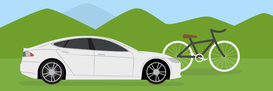 Graphic of tesla electric car and bicycle to be more environmentally friendly