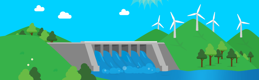 Graphic of a hydro power plant