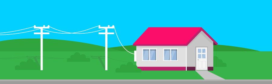 Graphic of distribution lines and a home
