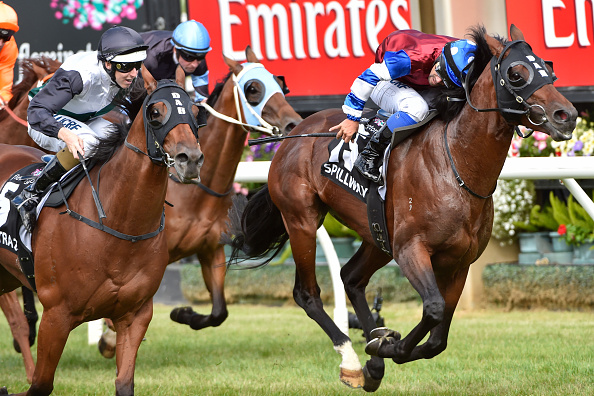 Michael Walker aboard Spillway as he noses Extra Zero out of the 2015 Australian Cup