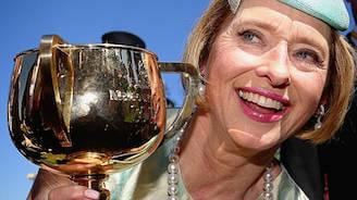 Gai Waterhouse enjoying her Melbourne Cup win