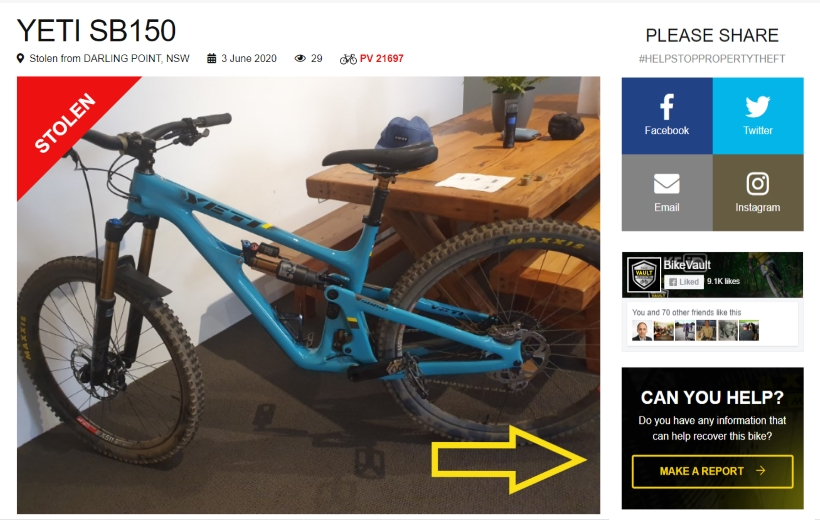 Stolen Yeti Mountain Bike