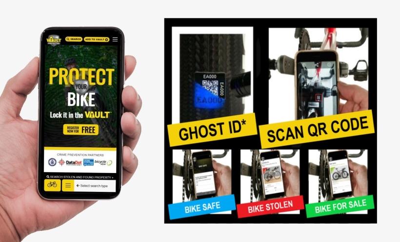 BikeVAULT website displayed on a mobile phone