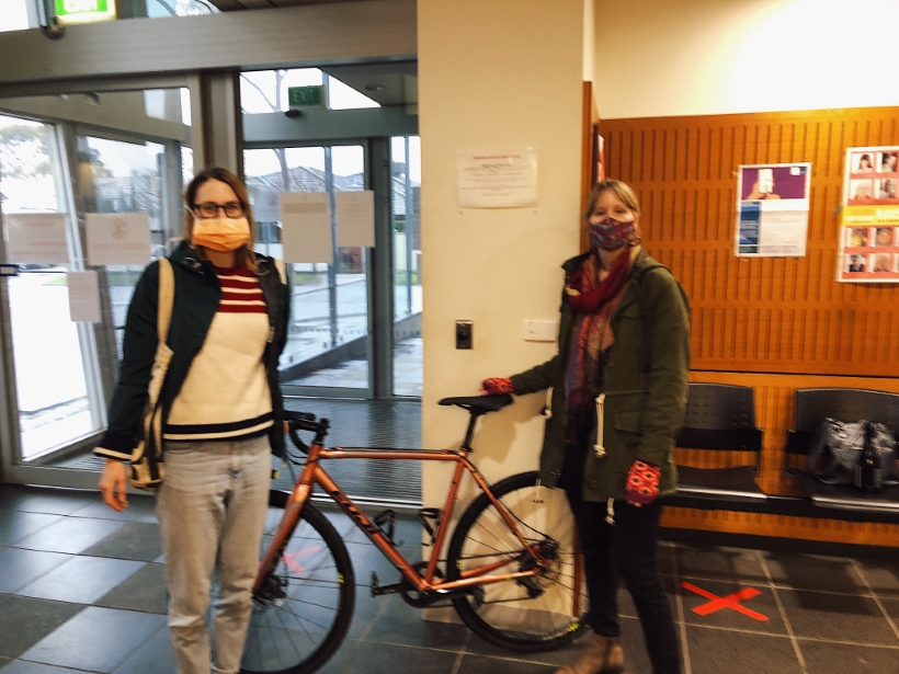 Recovered stolen bike - Meg and Erica met up at the police station to hand over the bike.