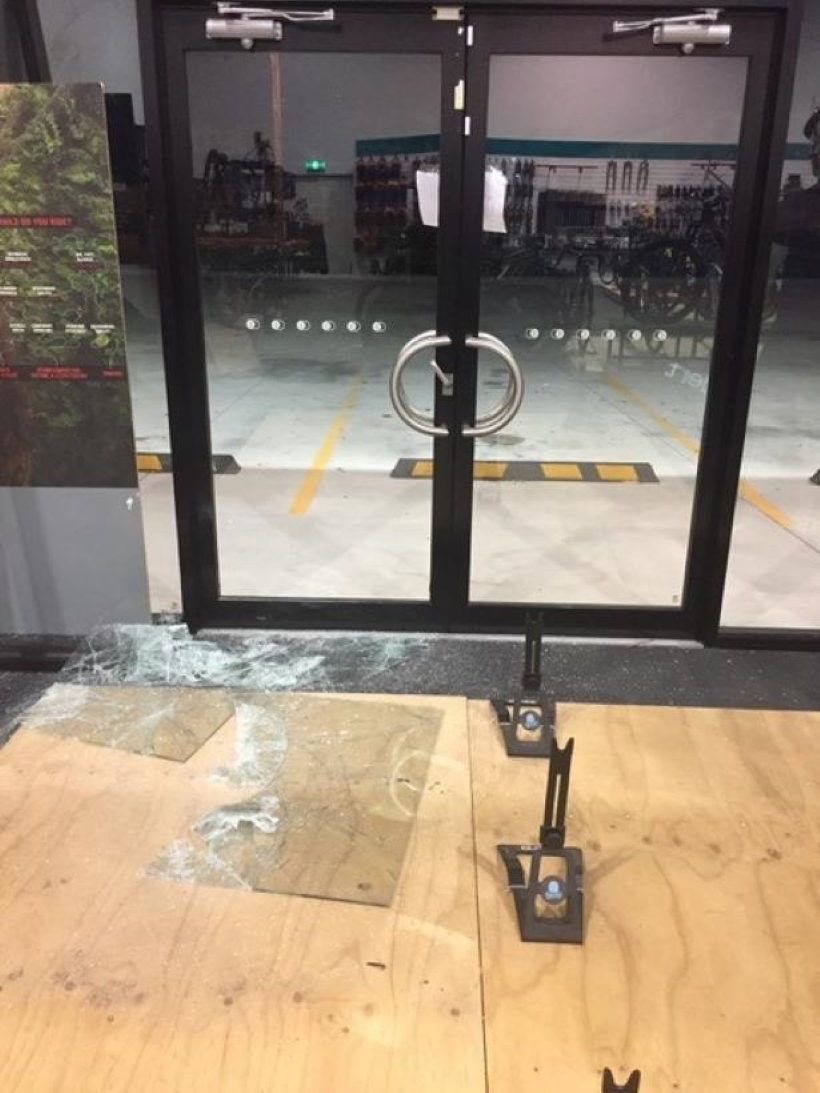Break-in shop front at Pedal Head Cycles, Brendale Qld