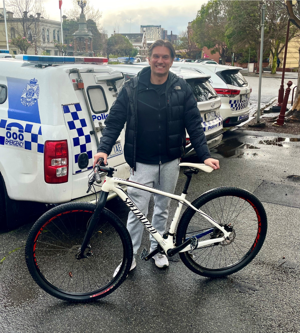 Ben collecting his stolen bike from South Melbourne Police Station