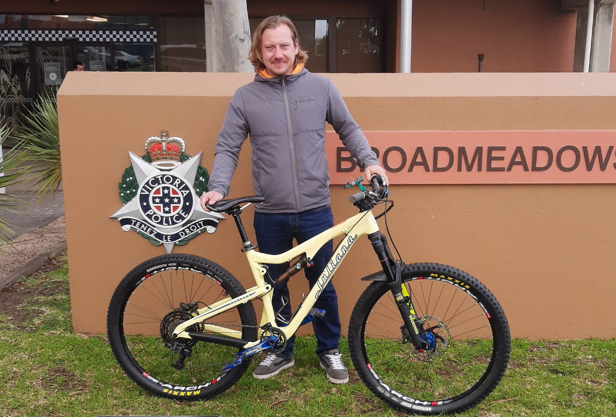 Torben collecting his wifes stolen bike from the Broadmeadows Police Station
