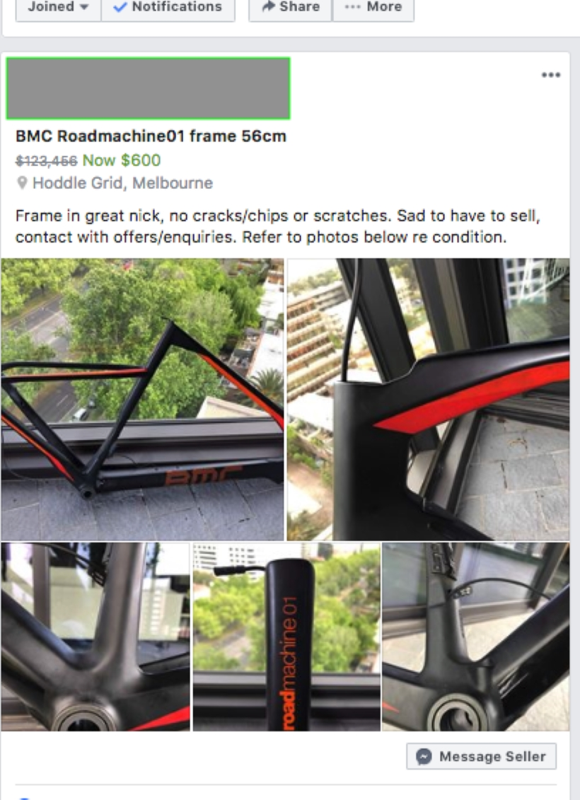 Facebook buy/sell listing for the stolen BMC