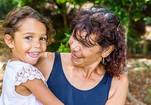 Aboriginal child and her mum