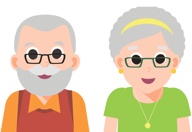 Over 70 couple illustration
