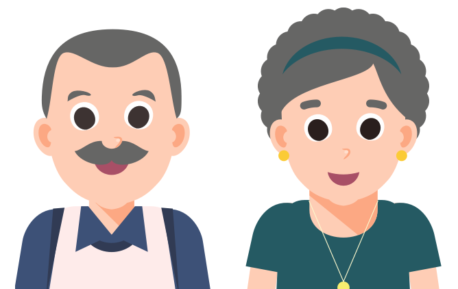 Illustration of over 65 years old couple