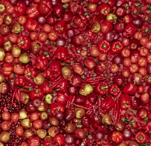 Red fruit and veggies