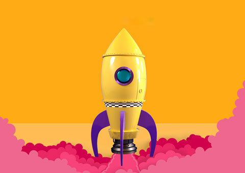 Boredom busters rocket illustration