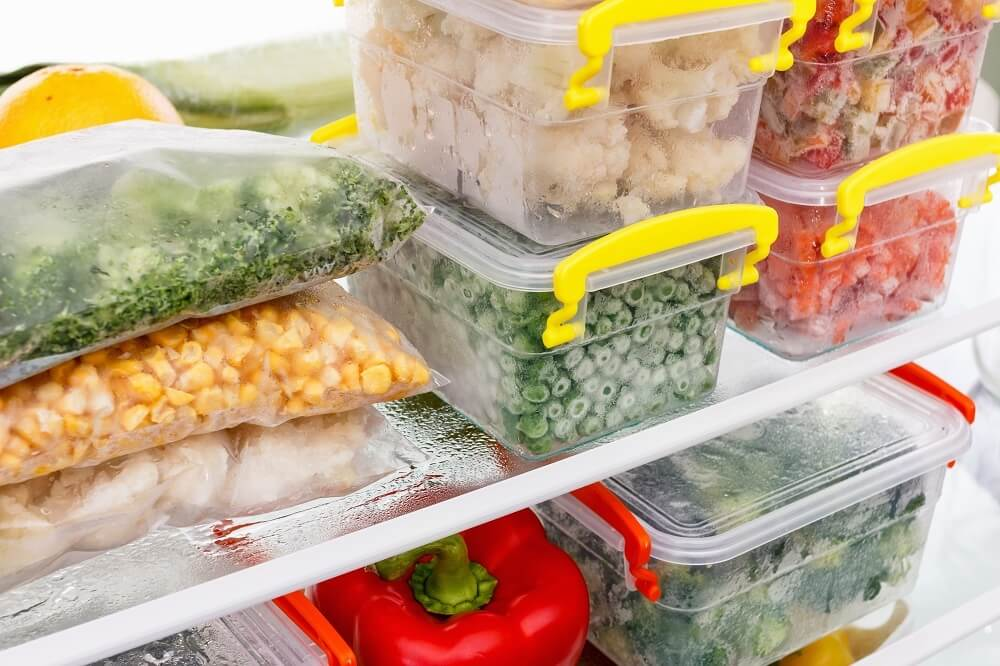 Frozen food in containers