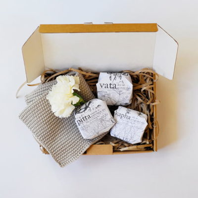 3 cleansing bars + cotton face washer gift box