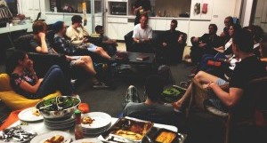 A Student Central group having dinner and bible study
