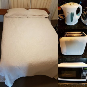 Queen Bed, Fridge, Toaster, Kettle, Microwave