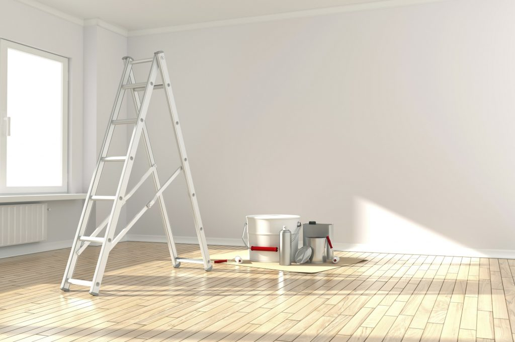 A ladder and paint during home renovations