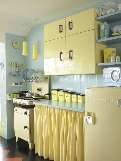 A 1950's pastel kitchen in yellow.