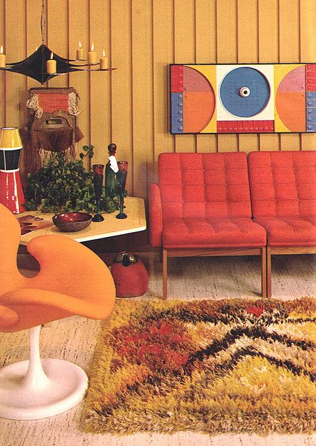 A 1960's lounge room with in warm browns and reds.