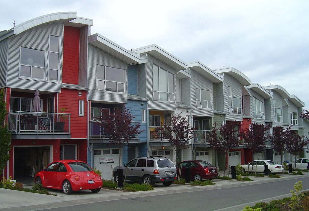 Row of modern townhouses