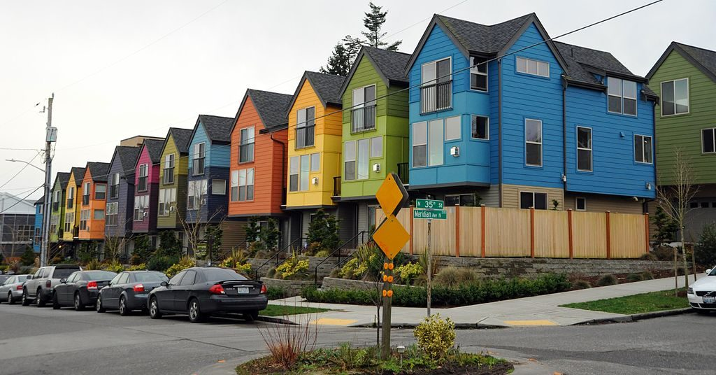 A colourful row of townhouses