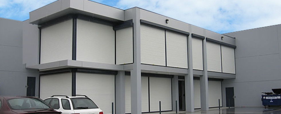 Secure roller shutters on a townhouse complex