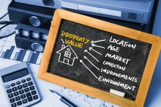 Blackboard with information on how to obtain property value data