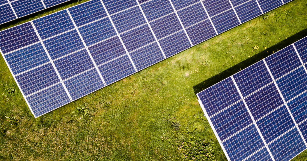 Solar panels sitting on a green background.