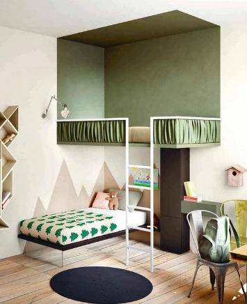 A kids bedroom where there is a green colored visual illusion in the corner