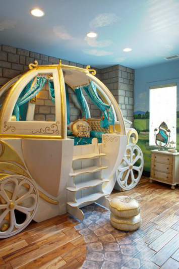A kids bedroom where the bed is a pumpkin shaped carriage