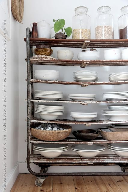 A bakers trolley makes a great industrial decor solution