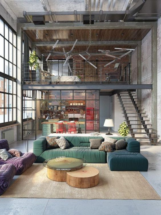 Industrial decor inside a warehouse style home