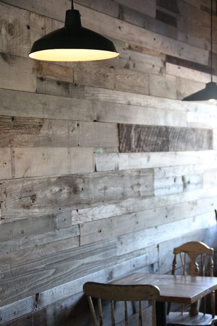 An industrial decor comprising timber panels and lampshades
