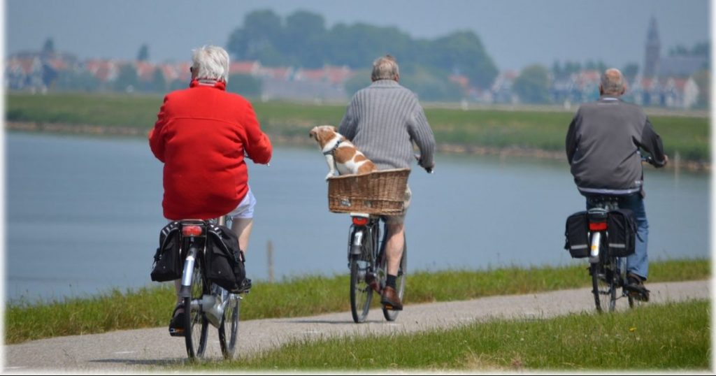Three retirees start a sharehouse together and ride their bicycles along a river track with a dog in a basket of one bicycle