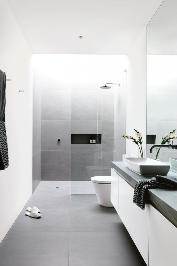 A monochrome designed bathroom